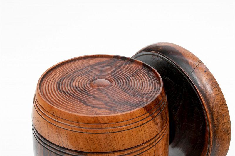 19th C English Lignum Vitae Wood Treenware String Holder