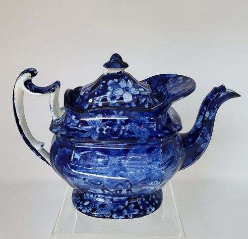 Early 19th Century Staffordshire Flow Blue Historical Porcelain Teapot