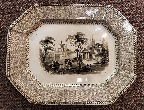 19th C English Ironstone Nanking Brown Transferware Platter