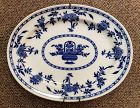 19th C English Minton Blue and White Porcelain Platter