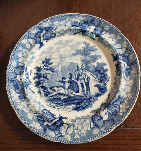 Rogers Staffordshire Blue and White Transferware Plate The Drama