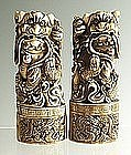 Chinese Carved Ivory Foo Dogs, Qing Dynasty