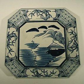 Meiji Era Square Porcelain Arita Dish for Mukozuke