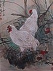 Mid 20th C Chinese Paper Scroll of Two Hens