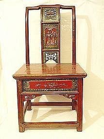 Chinese Red Lacquer Elm Wood Wedding Chair Drawer