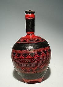 Thai Red and Black Lacquer over Wicker Bottle Decanter