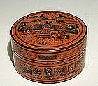 Late 1800s, Red Lacquer Burmese Betel Nut Box