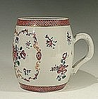Large Chinese 18th C Export Famille Rose Barrel Mug
