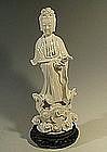 Tall Chinese Blanc de Chine Quanyin or Kwan Yin