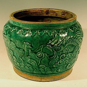 Green Shiwan Jardiniere Rooster Dragon Deer, 19th C