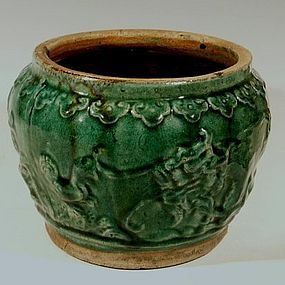 Phoenix, Dragon Large Green Shiwan Jardiniere, 19th C