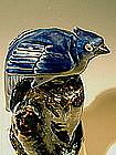 Tall Shiwan Cobalt Blue Bird, Early 20th Chinese