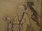 Chinese 19th C Scroll Painting of Shou Lu with Peaches