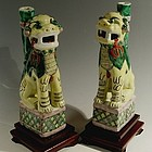 Pair of Chinese Famille Jaune Foo Dogs, 19th C