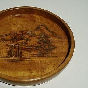 Japanese Carved Round Fruitwood Tray, Taisho
