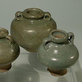 3 Celadon Jarlets Chinese Yuan Longuan and Thai