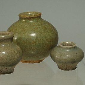 Three Chinese Celadon Jarlets, 14th C to 16th C