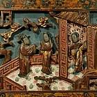 Pair Wood Panels Polychrome Gold Gilt Court Scenes