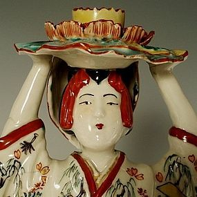 Large Antique Japanese Porcelain Kutani Geisha Lady Figurine
