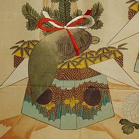 Japanese Silk Fukusa with Crane and Turtle, late Meiji