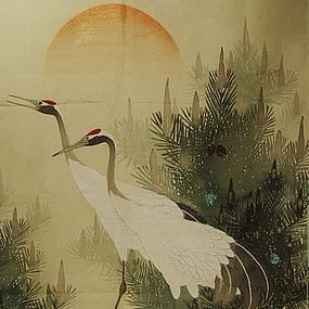 Japanese Silk Fukusa with Two Cranes, Early Meiji