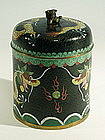 Black Cloisonne Dragon Tea Caddy Box, Qing
