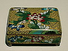 Yellow Ground Hinged Cloisonne Box with Flowers