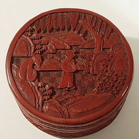 Chinese Round Red Lacquer Cinnabar Box with Figures