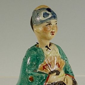 19th C Japanese Banko Ware Nodder Samurai Figurine