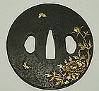 18th C Samurai Sword Tsuba  with High Relief Gold Inlay