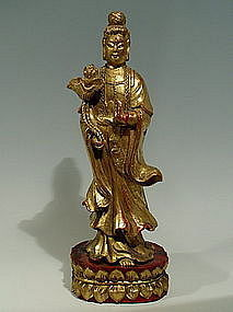 Chinese Wood Guanyin Red Lacquer and Gold Gilt, 19th C