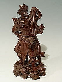 Chinese Wood Warrior King Guardian of Buddha Statue