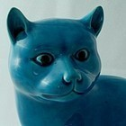 Chinese Export Turquoise Glazed Porcelain Cat
