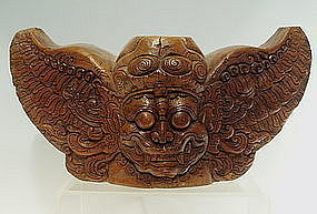 Large 19th C Bali Teak Wood Good Demon Temple Carving