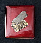 Japanese Red Lacquer Cigarette Case with Soft Book