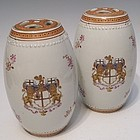 Pair Export Porcelain Armorial Tea Caddy Drum Jars, C 1800