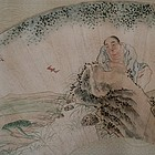 Chinese Fan Painting of Liu Hai Signed Calligraphy
