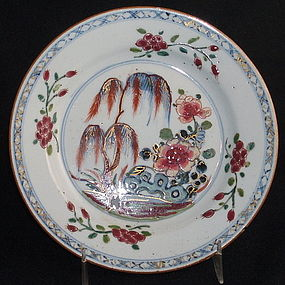 Chinese Famille Rose Plate with Rock Garden, C 1850