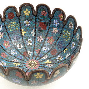 Early Meiji Japanese 16 Lobed Cloisonne Bowl