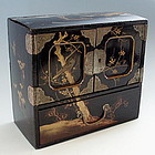 Japanese Lacquer Treasure Box with Bird Scene, 19th C