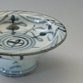 Chinese Blue and White Porcelain Stem Dish, Qing Dy