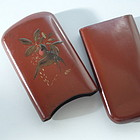 Rare Japanese Deep Red Lacquer Cigar Case, Meiji Era