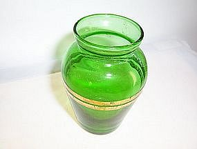 "Forest green small 4"" vase with gold bands"