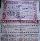 Jardins & Vignobles d'Egypte Share Certificate - 1947