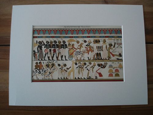 Genuine 19th Century Colour Lithograph Depicting Procession of Nubians