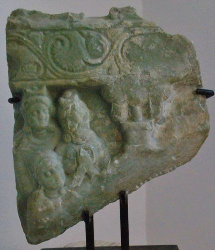 Ancient Indian Andhra Pradesh Green Limstone Buddhist Relief