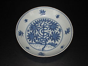 Rare Ming Jiajing blue and white dish