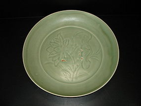 Early Ming Yongle longquan celadon large dish 36cm