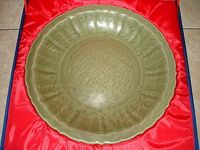 Yuan longquan celadon large carved lobbed dish, 36 cm