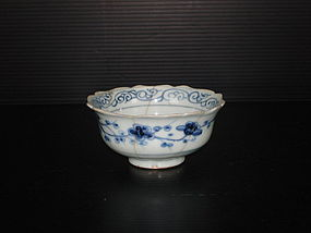 Rare sample of Yuan blue and white lobbed bowl